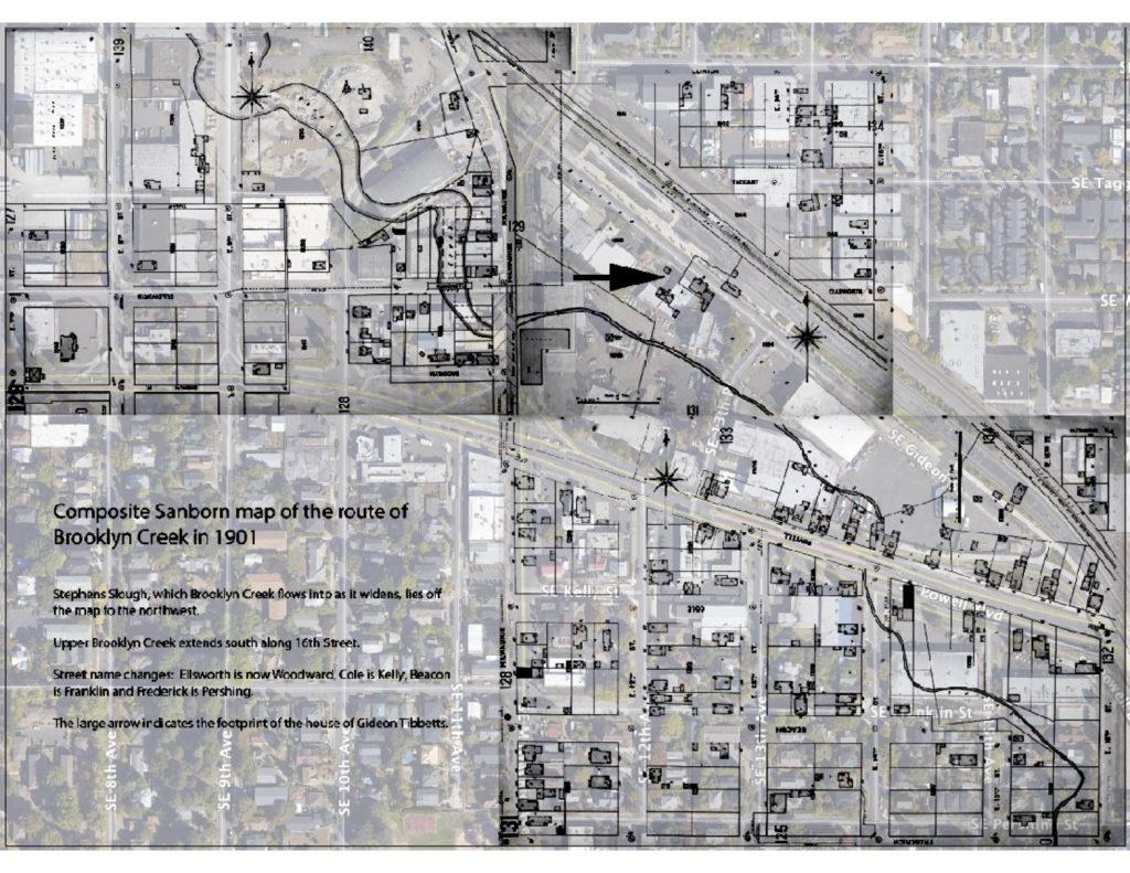 1901 Brooklyn Creek map overlaid with current aerial photo of Brooklyn neighborhood