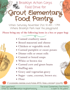 Grout Food Drive flier (details in post)