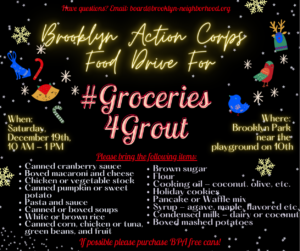 Grout Food Drive flier in English (details in post)