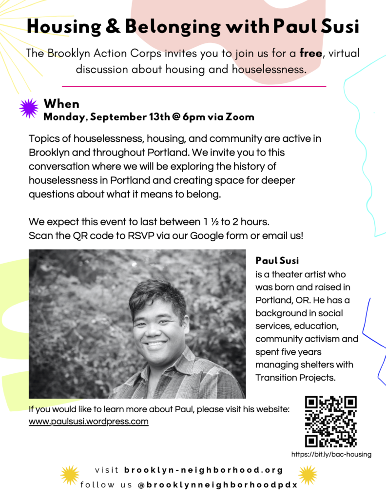 Flyer for Housing & Belonging with Paul Susi; details in post